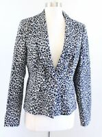 White House Black Market Gray Black Leopard Cheetah Print Blazer Jacket Size 10