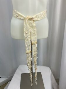 Mary Francis - Vintage Bead & Embroidered Silk Tie Belt, Women's M/L, Ivory NEW
