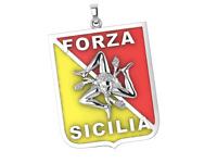 Sicilian Trinacria Pendant Jewelry Silver Necklace Forza Sicilia Sicily Flag New