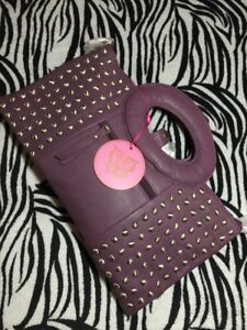 *New* Leather Amethyst, Small Studded clutch With handle, Woman's Bag. 100% Fab