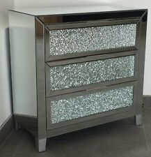 Modern Crushed Crackle Glass Mirrored 3 Drawer Chest Of Drawers