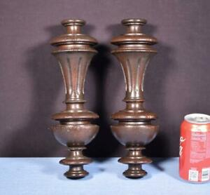 """*13"""" Pair of French Antique Solid Oak Posts/Pillars/Columns/Balusters Salvage"""