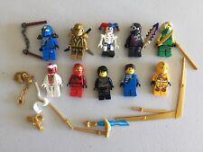 LEGO NINJAGO MINIFIG LOT of 10 MINIFIGS 4 Ninjas Weapons Lot n500b