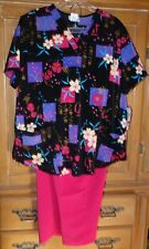 NEW CHEROKEE INSPIRED COMFORT SIZE L BLACK PINK SCRUB TOP & PANTS 2 PC SET