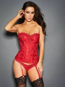 NWT FREDERICKS OF HOLLYWOOD $62 RED DREAM SWEETHEART CORSET SZ 36