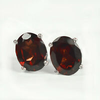 9x7 MM Oval Cut Natural Red Garnet Gemstone 925 Sterling Silver Stud Earring