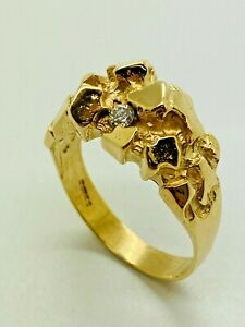 9ct Yellow Solid Gold Diamond Signet Style Fancy Ring