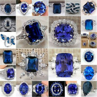 925 Sterling Silver Blue Sapphire Topaz Gemstone Ring Women Men Fashion Wedding