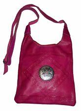 Moroccan Handbag Carved Leather Evening Shoulder Strap Bag iPad-Purse Magenta