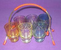 VINTAGE RETRO 1950/60s HARLEQUIN SHOT GLASSES & ATOMIC SPUTNIC STAND
