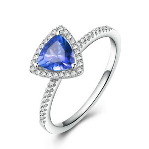 Trillion 6x6mm Tanzanite Real Diamond Sterling Silver Engagement Ladys Ring Gift