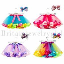 Girls Layered Rainbow Tutu Skirt Dance Dress Costume with Hair Bow Clips Set