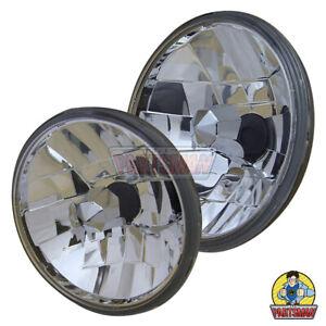 "7"" Round H4 Semi Sealed Beam Kit Crystal Reflector Replaces Std Sealed Beam Ligh"