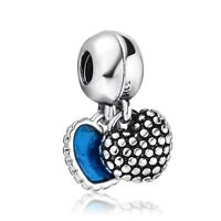 2In1 Enamel Blue Hearts Silver Family Charm Bead Fit 925 Sterling Bracelet Chain