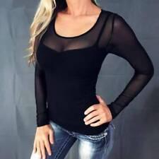 DE Damen Transparent Langarmshirt Bluse Sexy Tunika Oberteile Tops Pulli T-Shirt