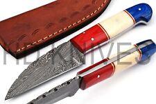 8 inch HD Custom Damascus steel Hunter skinner knife American flag handle Q-181