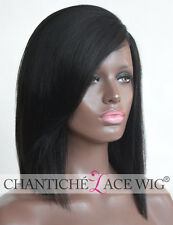 Short Bob Silk Top Human Hair Lace Front Wigs Black Women Brazilian Remy Yaki UK