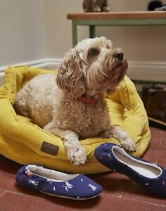 Joules  Small Velvet Dog Bed - Gold - One Size