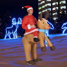 Christmas Inflatable Santa Claus with Reindeer Costume Suit Cosplay Party Dress