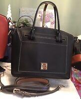 EUC Dooney Bourke Beacon Satchel Vachetta Smooth Leather BLACK Shoulder Handbag