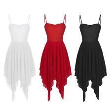 Women's Sexy Maxi Asymmetrical hem Dress Dance Party Tango Modern Latin Costume