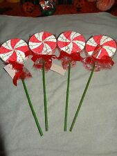 "CHRISTMAS PEPPERMINT 4 BEADED LOLLIPOPS 16"" FOR CRAFTS, PROP, WREATH USE DECOR"