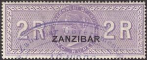 Zanzibar 1892 QV Revenue Overprint on India 2r Lilac Used BF6
