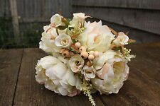 VINTAGE CREAMY IVORY SILK ROSE BUD & PEONY FLOWERS SMALL BOUQUET / TIED BUNCH