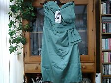 WOMENS BELLE BY OASIS STRAPLESS LIGHT GREEN SATIN DRESS SIZE 16 (NEW)