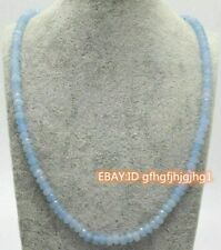"""Natural 2x4mm Faceted Blue Aquamarine Rondelle Gemstone Beads Necklace 18"""" AAA"""