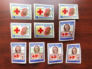 Guatemala 1958-68 # C219-220, 235-236, 251, 295-296, 390, 392-393 Red Cross MNH