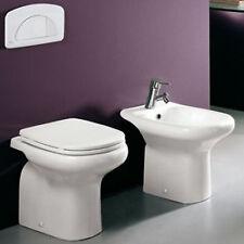 Sanitari a terra in ceramica wc completo di copriwater e bidet monoforo d'arredo
