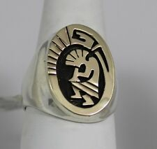 Navajo Indian Size 10-3/4 Ring 14 K Gold Overlay on Sterling Silver Kokopelli