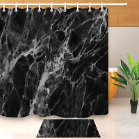 Black Abstract Marble Texture Fabric Shower Curtain Set Bathroom Rug Decor Hooks