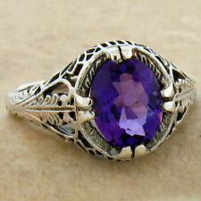 VINTAGE LAB AMETHYST .925 STERLING SILVER ANTIQUE STYLE RING SIZE 8,     #742