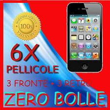 6 Pellicola Per APPLE IPHONE 4 3 fronte 3 retro Proteggi Salva Schermo Pellicole