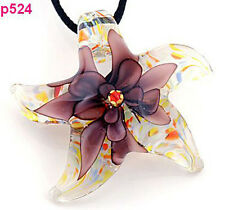 Starfish flower Lampwork Glass Pendant Necklace p524