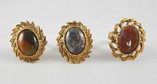 Vintage Lot Of 3 Rings Adjustable Agate Rust Brown Gray Gold Tone    F1B21
