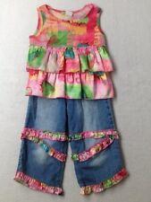 Girl Little Mass Strawberry Fields Top Shirt Jeans Ruffle Set Size 4 EUC
