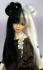 Doll Wig Lolita Style with Buns, Braids Black White Split BJD Size 7, 8, 9, 10