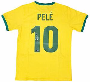 Pele #10 Signed Brazil Soccer Jersey Autographed AUTO Beckett BAS COA Sz XL