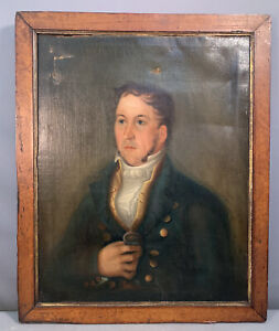 19thC Antique REGENCY GENTLEMAN Old NAVAL SEA CAPTAIN Uniform PORTRAIT PAINTING