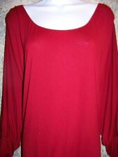 Red batwing dolman sleeve scoopneck lightweight stretch knit top woman plus 3X