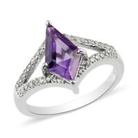 Platinum Over 925 Sterling Silver Amethyst White Zircon Ring Gift Size 7 Ct 1.9