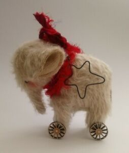 Handmade Cream Mohair Elephant On Wheels ~ Whendi Meagher Design ~ Bear Friend