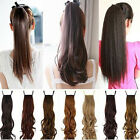 Real Natural Long Ponytail Clip in Pony Tail Hair Extension curly wavy women new