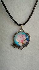 Glass Ornament Pendant Flower Lotus Ornament With Leather Necklace J257