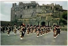 SCOTLAND'S EDINBURGH CASTLE WITH PIPE BAND OF BLACK WATCH, RPPC, 30 YRS OLD