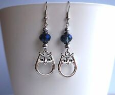 Owl and crystal Antique Silver Dangle Charm Earrings