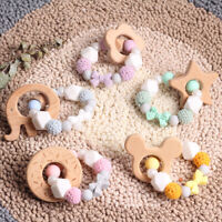 Baby Teething Wooden Crochet Silicone Beads Rattle Bracelet Pacifier Chain Clips